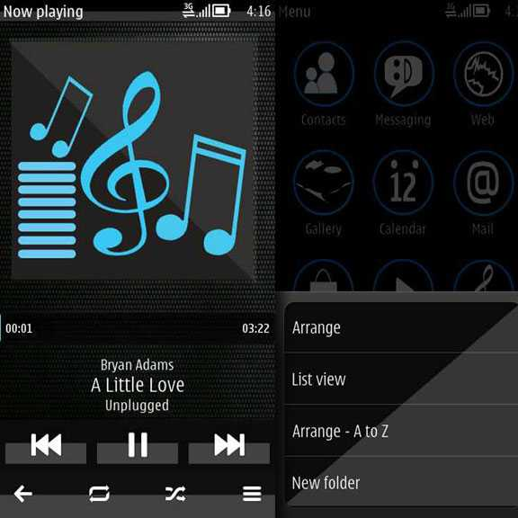 Trance Blue Pro Music Player and Option popup