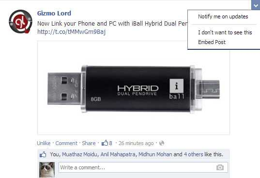 GizmoLord Facebook embed post
