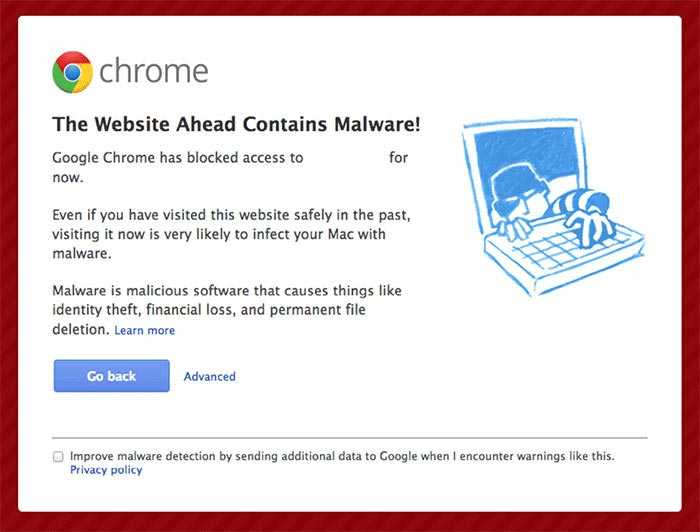 Malware Infected Website Notification in Google Chrome